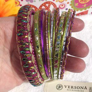 Boho Stackable Bangle Bracelets Purple & Lime Set